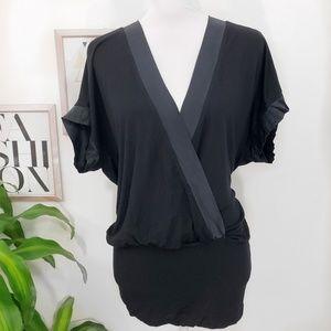 Bebe Med. Black Silk Trim Dolman Sleeve Tunic Top